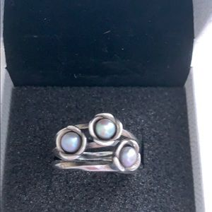 Pandora Sterling Silver Three Wishes Pearl Ring